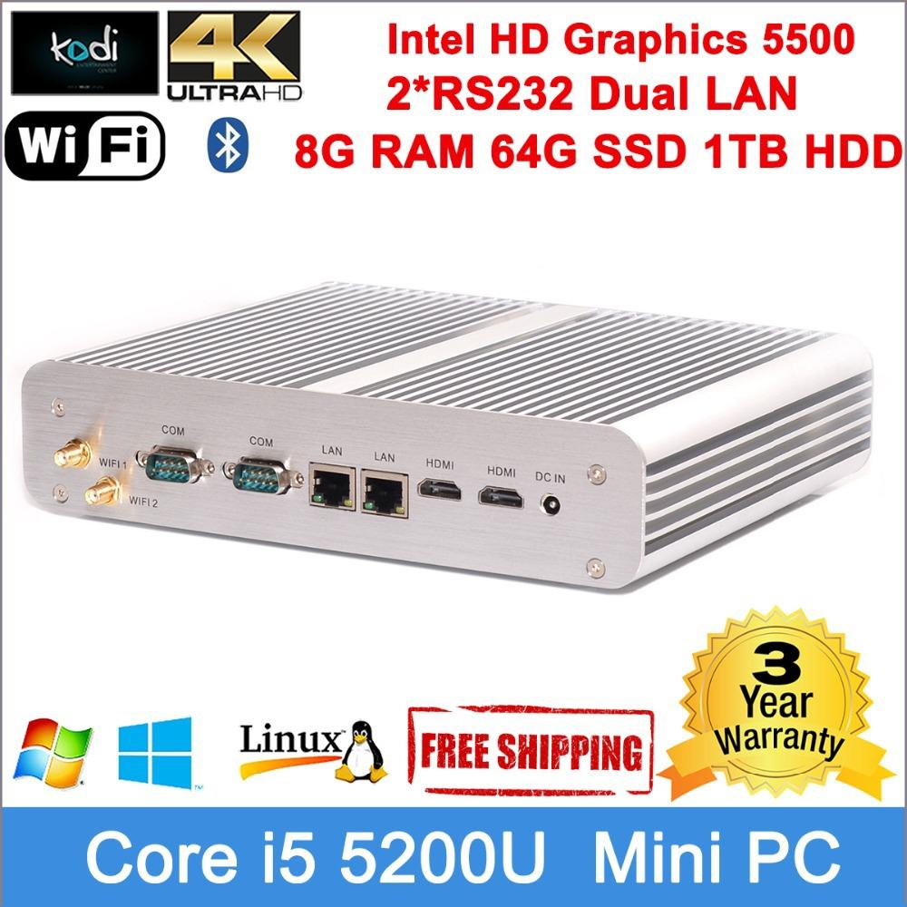 Core i5 5200U Mini pc intel i5 processor Dual Gigabit LAN dual nic mini pc 2*antennas Windows 8.1 Linux distro compatible(China (Mainland))
