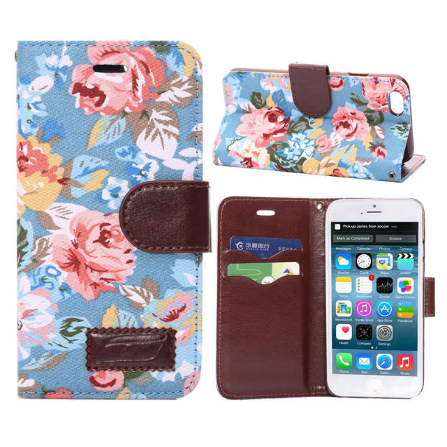 For iPhone 6 Case Elegant Flower Print Fabric PU Leather Magnet Magnetic Credit Card Holder Wallet Stand Case Cover for iPhone(China (Mainland))