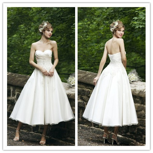 2014 a line simple wedding dress sweetheart satin organza for Simple ankle length wedding dresses