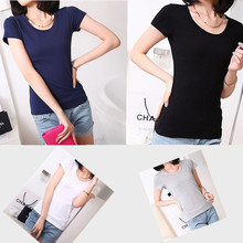 A New Type Of Dress Color Round Neck Short Sleeve T-shirt Slim All-match Tee Temperament Thin Solid Color T-shirt Girl