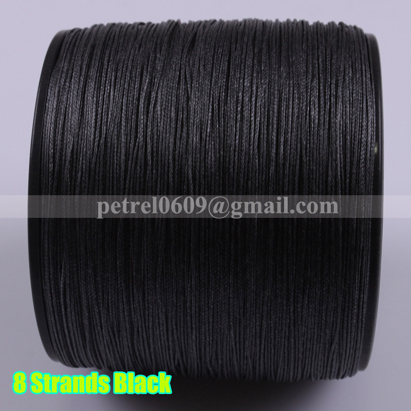 New Super Strong Sea 8 strands Extreme Spectra 100% PE Black Braided Fishing Line 1000M 20LB 0.20mm Freshwater Saltwater Fishing(China (Mainland))