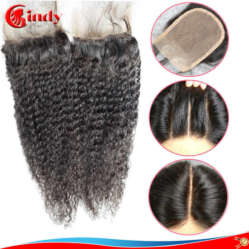 Mongolian kinky curly virgin hair lace closure 6A natural black free middle 3 part swiss lace 130 density with baby hair(China (Mainland))