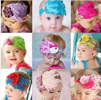 Beautiful Cut Peacock Feather Headband hairband Baby Kids Infant Headbands Head Children Accessories Baby Christmas Gift A043(China (Mainland))