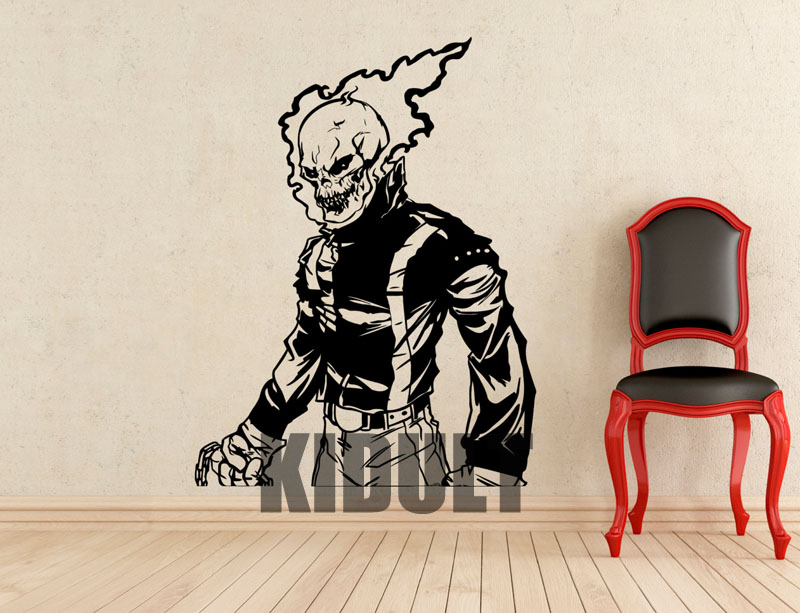 Ghost Rider Character Cartoon Wall Sticker Wall Decals Vinyl Wall Art Home Plane Bedroom Children's Room Decoration Videos(China (Mainland))