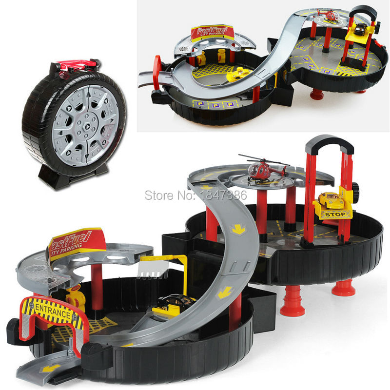 Spiral Roller Rail Alloy Vehicles Kids City Parking Garage Toy City Car Truck Vehicle Auto 2 Storey Play Set Tire Carrying Case(China (Mainland))