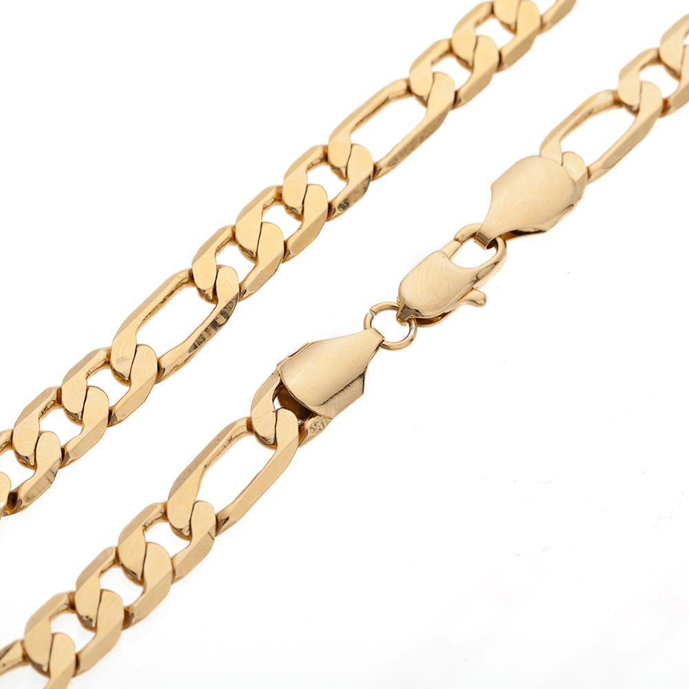 Yellow Gold Filled Necklace Necklace Figaro Chain 60cm for Men Trendy Jewelry(China (Mainland))