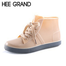 HEE GRAND Lace-Up Rain Boots Fashion Solid Flats Ankle Boots Casual Silver Women Boots Shoes Woman 4 Colors Size 35-40 XWX3072(China (Mainland))