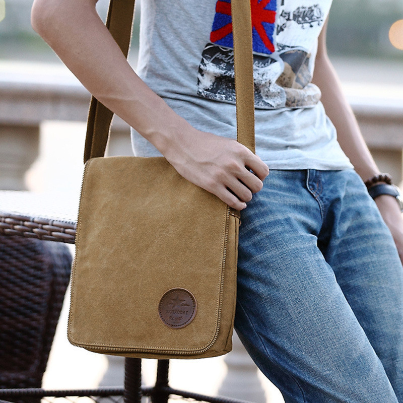 High quality brown and khaki cow leather zipper custom canvas bags wholesale mens canvas messenger bags small shoulder bags gift(China (Mainland))