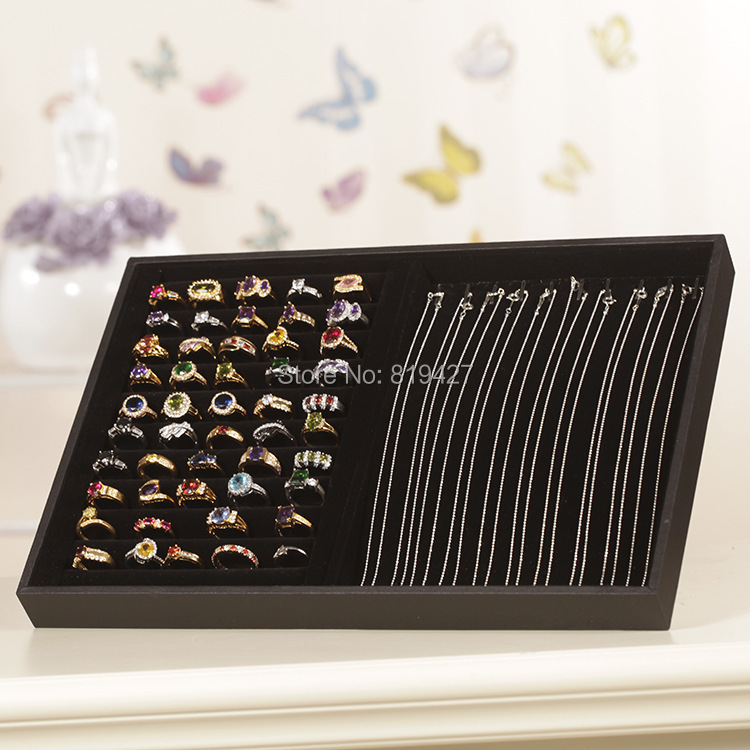 Wholesale 1pcs Black Velvet Necklace Jewelry Rings Earrings Display Show Case Organizer Tray Box Free Shipping(China (Mainland))