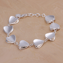 H266  heart silver link bracelet for women(China (Mainland))