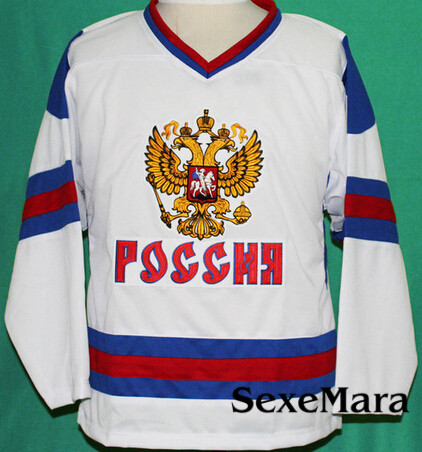 Double Stitching and embroidered Alex Ovechkin Jersey Stitched Hockey Team Russia any Size XXS to 6XL(China (Mainland))