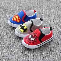 2016 New Shoes Kids Shoes Superhero Canvas Shoes for Kids Superman Batman Spiderman For Kids 1-3 Ages Popular in Europe America