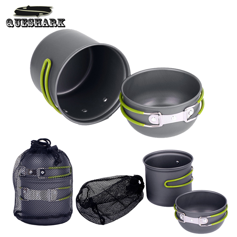 2Pcs/Set Outdoor Camping Hiking Cookware Tool Kit 1-2 People Cooking Picnic Bowl Pot Pan Set Portable Backpacking Utensils(China (Mainland))
