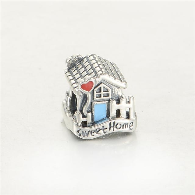 S925 стерлингового серебра Jewerly милый дом эмаль бусины DIY выводы подходит европейский бренд очаровывает браслеты и ожерелье