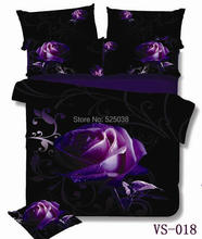 6 Pieces per set Absolutely Beautiful Purple Rose and Print 3D Bedding Set very New(China (Mainland))