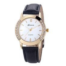 Superior New Fashion Diamond Analog Leather Quartz Wrist Watch for Women July16