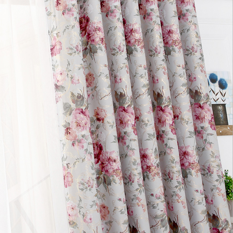 Golden Printed Curtains Roses Bedroom Curtain Patterns