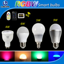 2.4G Wireless WiFi Control RGBW Dimmable 85-265V E27 E14 GU10 4W 5W 6W 9W iPhone iOS Android Mi-Light Lamp Smart LED Light Bulb(China (Mainland))