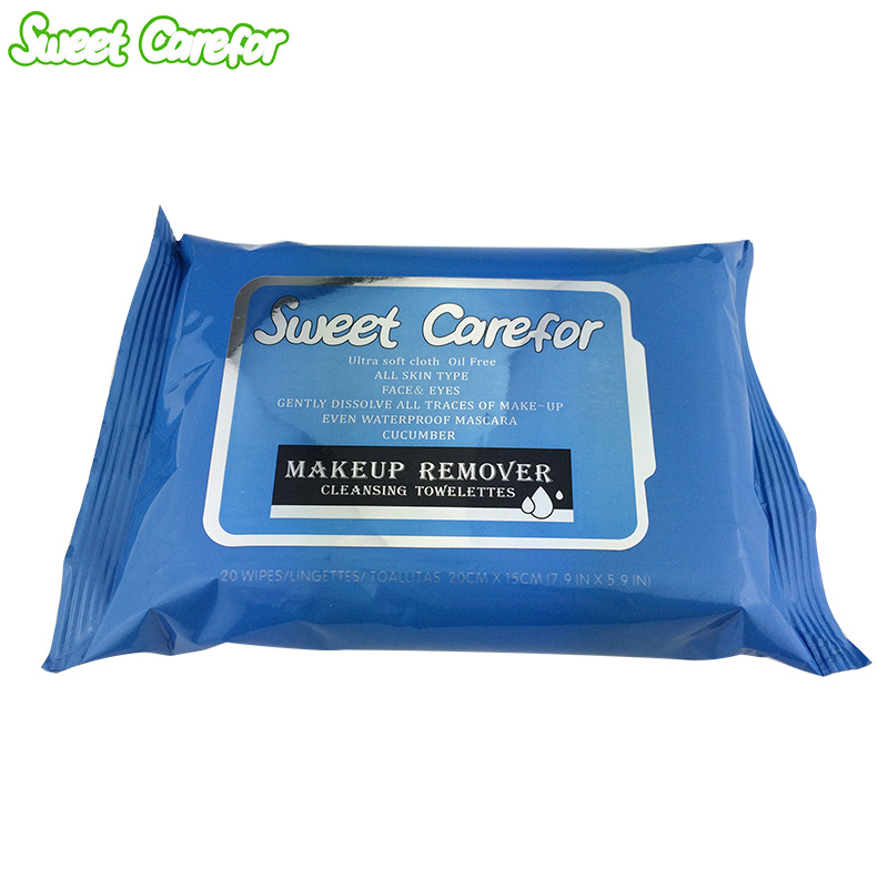Sweet Carefor Makeup Remover Wet Wipes Cleansing Towelettes 20PCS/Pack Alcohol Free Wet Wipes For Skin Care