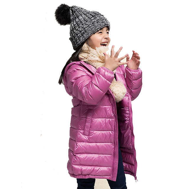 Девушки Зимний Свет Белая Утка Вниз Пальто Дети Куртка С Капюшоном Длинные Участки Дети Одежда Получать Теплый Parka Верхняя Одежда Snowsuit