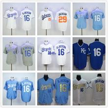 2016 Cheaps New Mens 16 Bo Jackson White Blue Grey Stitched Royals Jerseys(China (Mainland))
