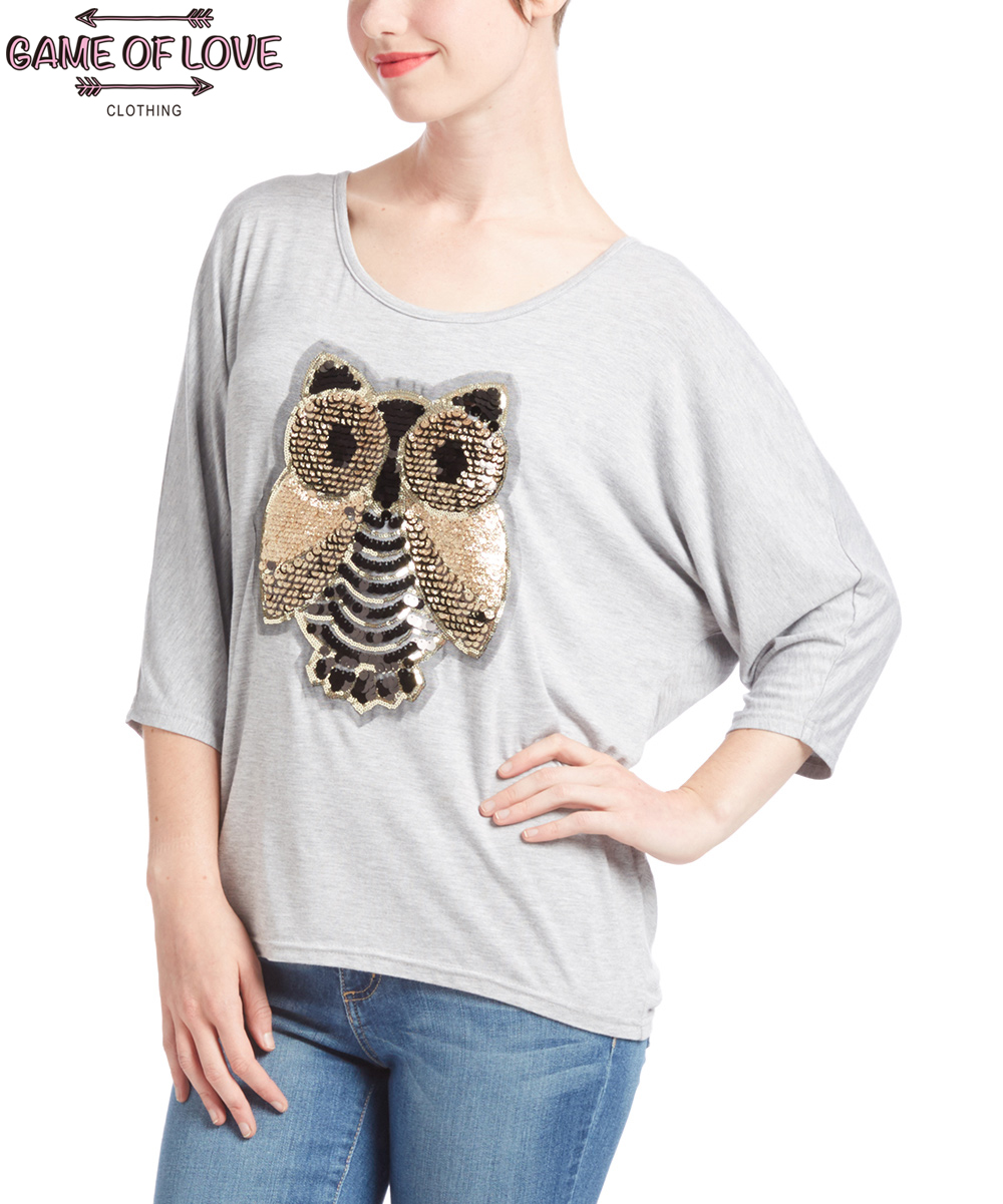 Game Of Love Women's Shadow Owl Hi-Low Dolman Top 3/4 Sleeve T Shirt(China (Mainland))