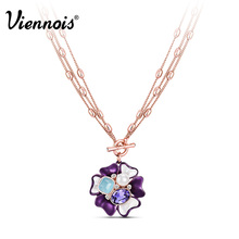 Newest Viennois Fashion Jewelry Rose Gold Plated Flower Pendant Necklace Purple Crystal Opal Stone Chain Necklaces(China (Mainland))