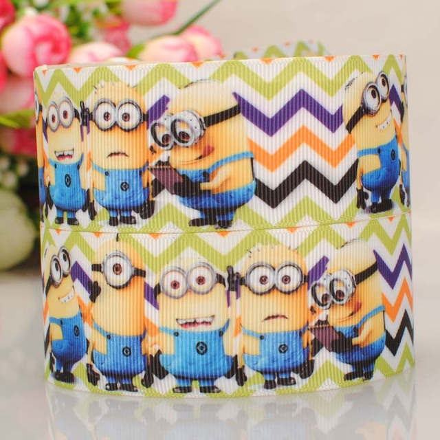 Free Shipping10yards 1.5''38mm MINIONS printed grosgrain ribbon HALLOWEEN ribbon DIY party decoration ribbon