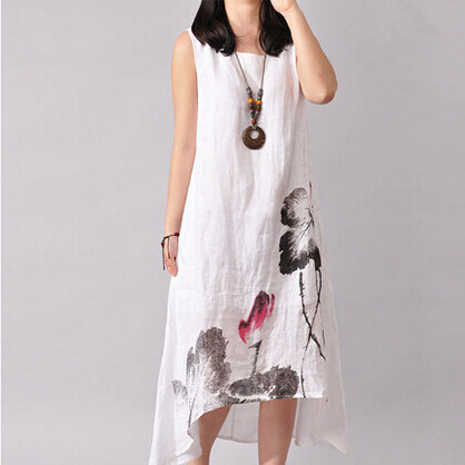 Summer dress 2015 New Fashion sleeveless white dress casual cotton Linen dress lotus Printing o-neck vestidos de festa(China (Mainland))
