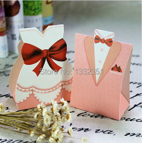 Pink tuxedo dress gown wedding favors and gifts candy box for Wedding dress shipping box