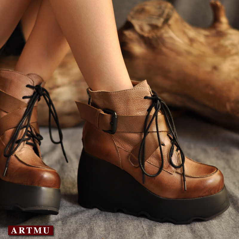 Handmade genuine leather boots platform boots vintage lacing ankle boots martin boots platform shoes free shipping