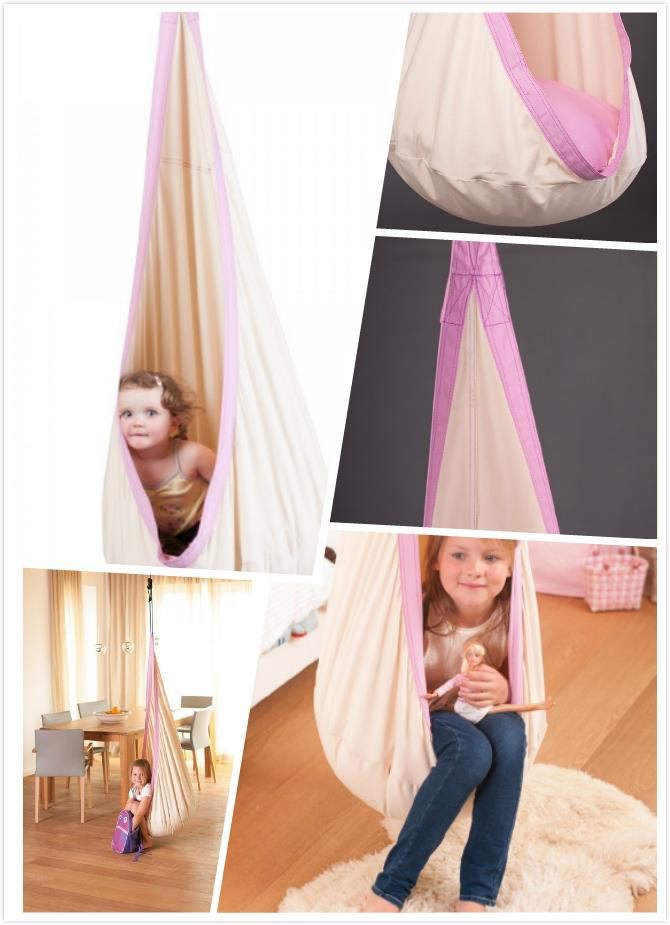 2015 kids Hammock Swing Chair For Children Indoor Outdoor Pink Cotton Hammock for baby Christmas Gift baby Swing Chair For Girl(China (Mainland))