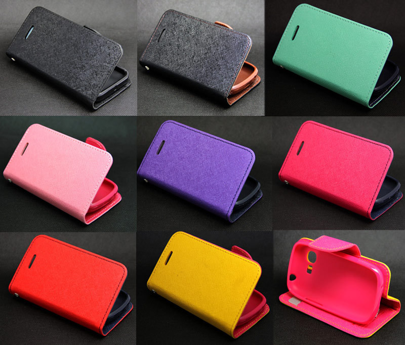 Deluxe Wallet Leather Flip + Tpu Skin Case Cover For Samsung Galaxy Pocket Neo S5310+Silver Dust Plug