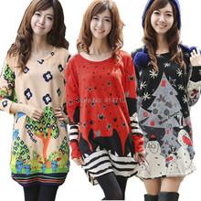 2015 winter dress fashion print vestido inverno plus size tunic long sleeve o-neck loose casual bohemian women dresses for fat(China (Mainland))