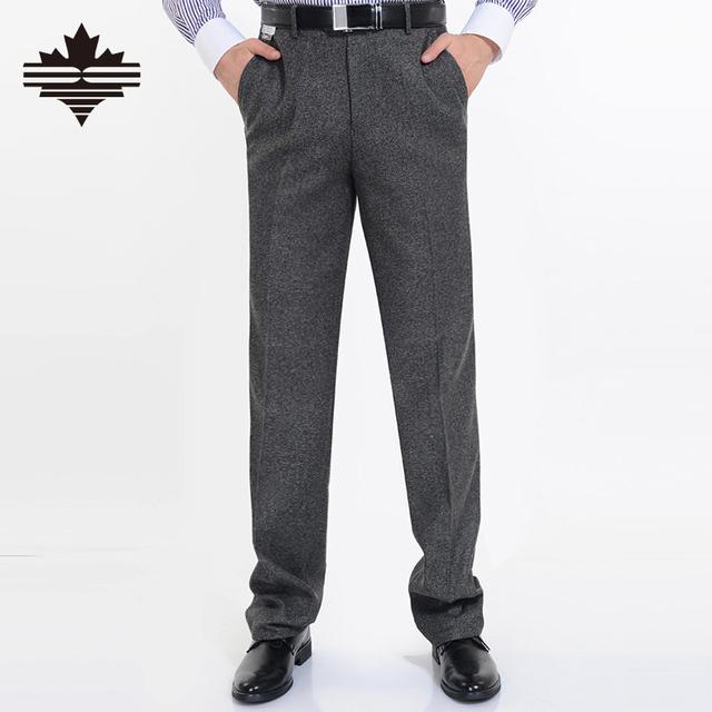 Мужской костюм брюки высокое качество мужчины брюки зима сгущать шерстяные брюки прямой бизнес мужской формальные большой размер 44 42