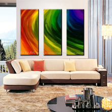 Buy 3 piece handmade colorful canvas wall art Modern abstract wall abstract artwork picture oil painting set home deco living room for $29.90 in AliExpress store