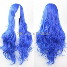 LHX32076P&P>sexy lady hot Blue 32″ Curly Wave Cosplay Wigs Full Wig E037
