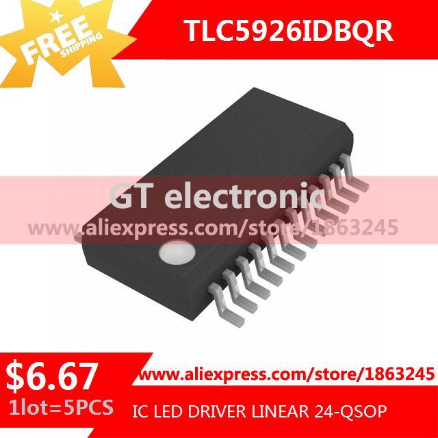 Free Shipping Integrated Circuit TLC5926IDBQR IC LED DRIVER LINEAR 24-QSOP 5926 TLC5926 5pcs(China (Mainland))