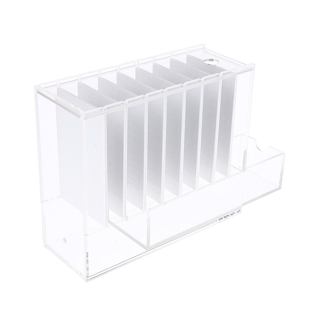 8 Layers Acrylic Clear False Eyelash Storage Case Organizer Eyelash Display Box Holder with 8Pcs Eyelashes Pallet