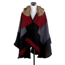 Brand design Women Multicolor Tartan Plaid Poncho Shawl Scarf Faux Fur Pashmina Collar Winter Scarves Cape AL S177(China (Mainland))