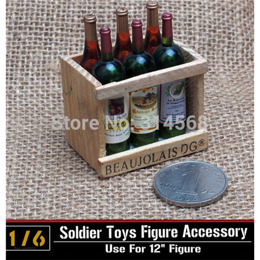 "6pc/set 1:6 Scale Accessory Europe World War II Wine Beer Box Bar Scene 12"" Action Figure Soldier Story Model Toy Collection E(China (Mainland))"