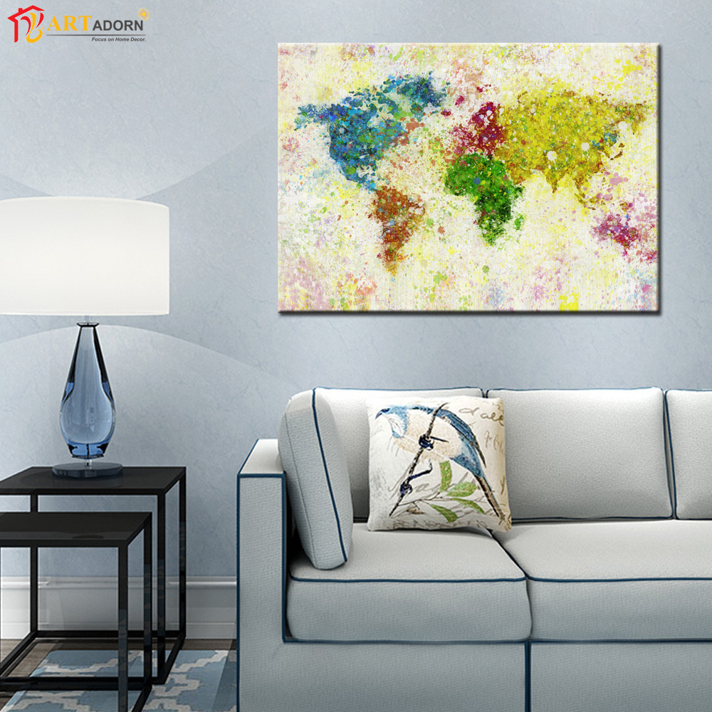 Abstract print world map painting on canvas wall art picture for living room no frame in Canvas prints for living room