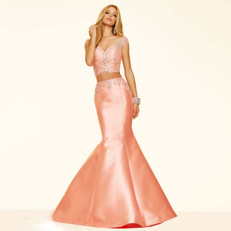 Tall Girl Two Pieces Pink Beaded Sequined Spaghetti V-neck Mermaid Zipper Back See Through 2016 New Organza Prom Dresses(China (Mainland))