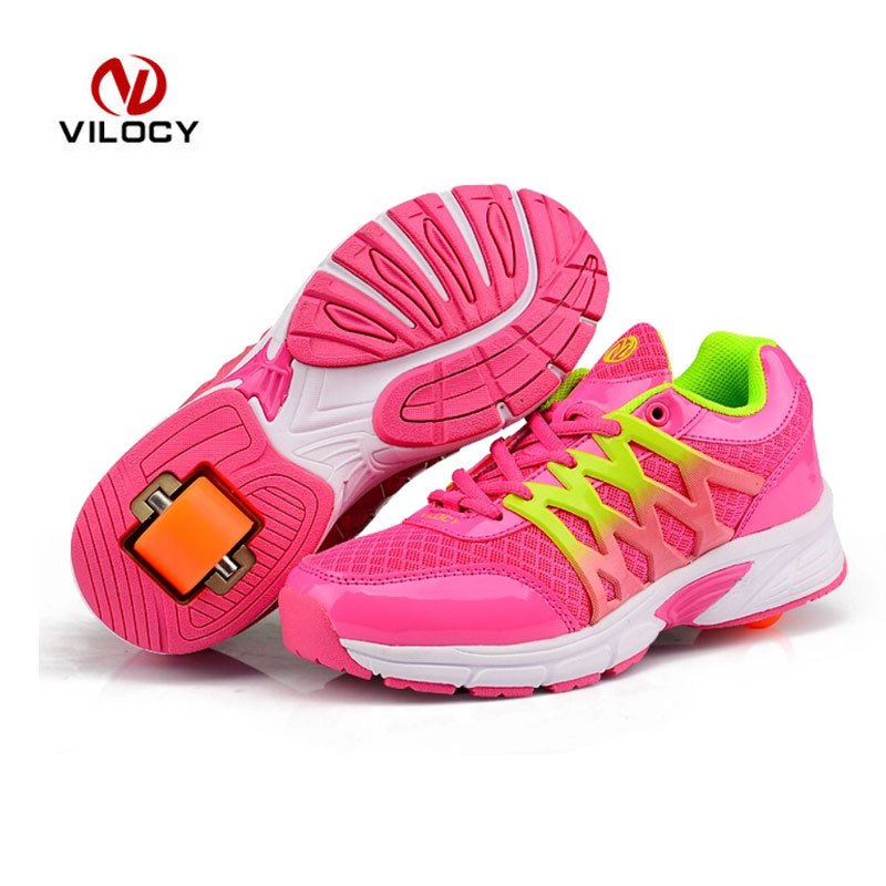 Heelys Shoes Wheels 2016 Super Light Kids Outdoor Shoes High Quality Flying Sneakers Roller Skate Children Heelys Shoes Wheels(China (Mainland))