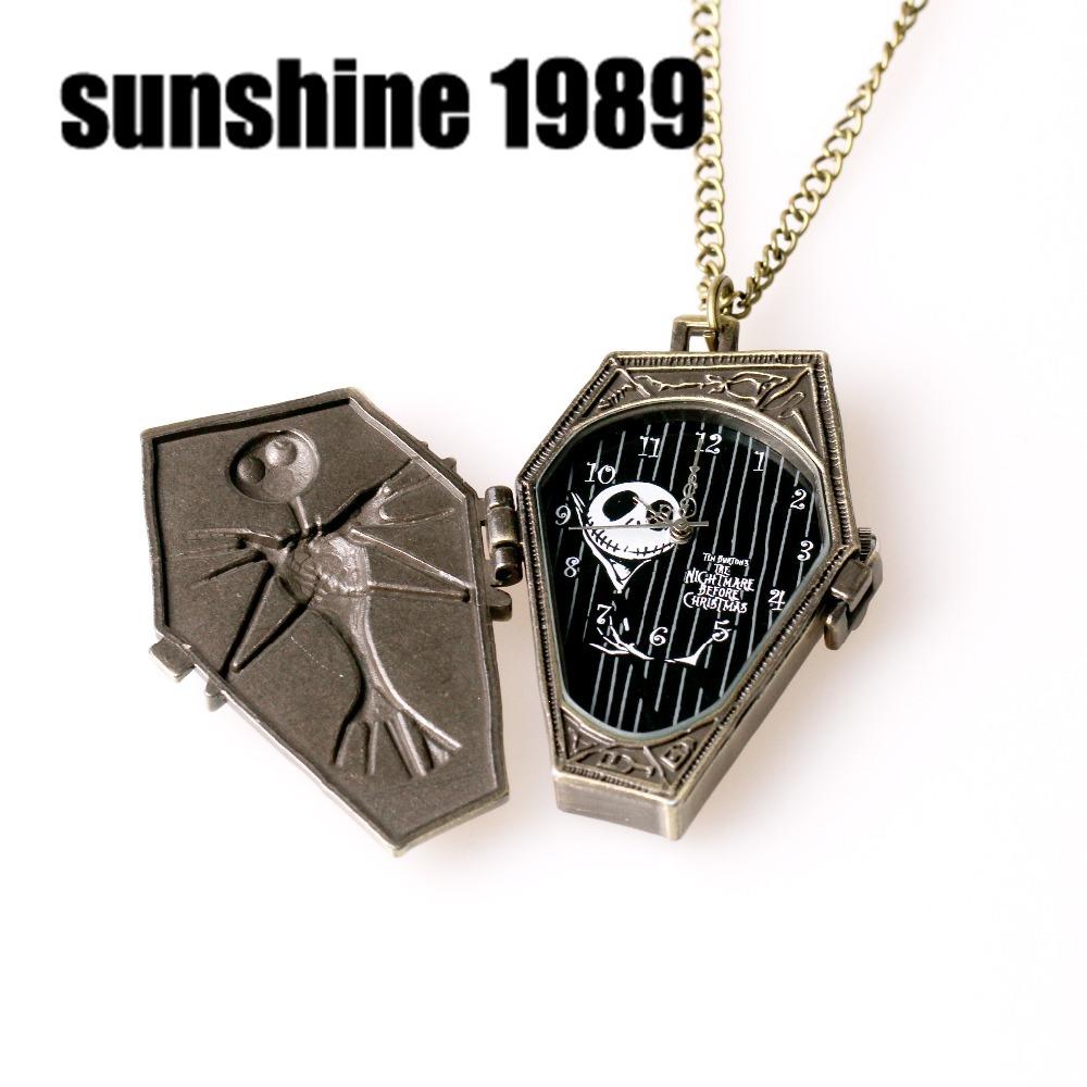 Sunshine New Quartzwerk Pocket Watch necklaces The Burton s Nightmare Before Christmas Cartoon bones fashion jewelry
