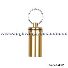 2013 Hot selling 20*50mm Aluminum Alloy Pill Box Keyring ,2000pcs/lot,Sealing And Waterproofing,Free Shipping!(China (Mainland))