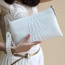 Echtes leder handtasche weiße handtasche schwarz kupplung frauen tasche Crocodile print leder material größe 29*19 cm(China (Mainland))