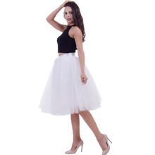 Женская нижняя юбка из фатина, винтажная плиссированная юбка-пачка для подружки невесты средней длины, 6 слоев, 65 см(China)