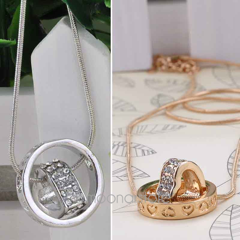 2015 New Silver Gold Plated Crystal Circle Heart Necklaces & Pendants Korean Jewelry Women Drop shipping F50MPJ462#S5 - Women's Beauty Store store