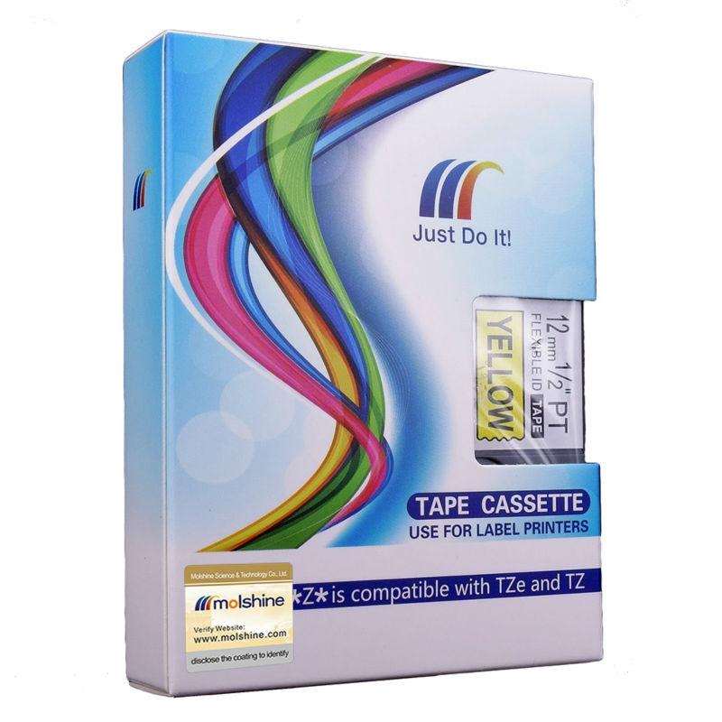 "Molshine 20pcs TZeFX631 Compatible Label Tape Brother TZe-FX631 TZ-FX631 TZFX631 Black Yellow (0.47'' 1/2"" 12mm) 8m"